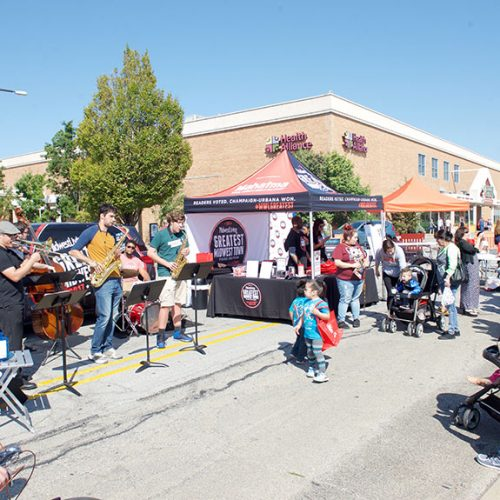 Midwest Living's surprise performer, The Jazz Collective entertaining guests at the Farmers Market