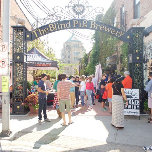 Guests entering the Bling Pig Brewery to attend the Midwest Living event